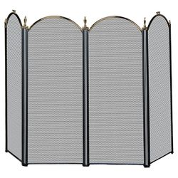 Antique Brass & Black 4-Panel Fireplace Screen