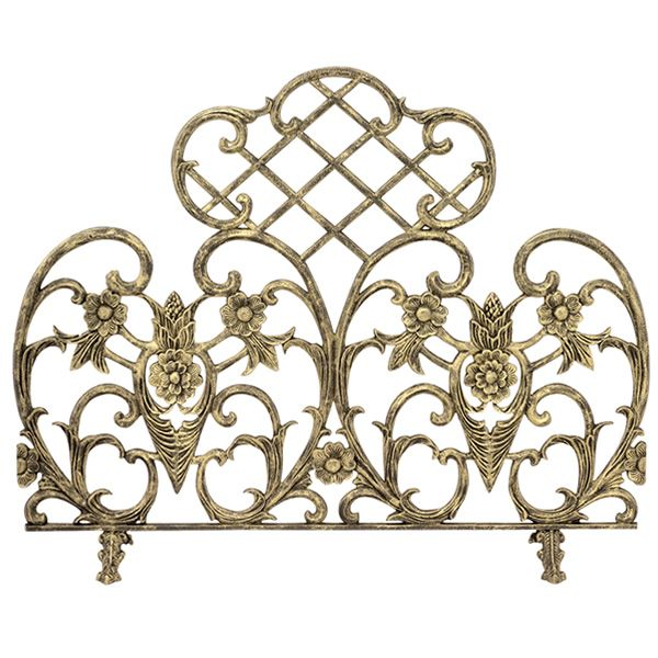 "Antique Gold Single Panel Cast Aluminum Fireplace Screen - 42"" x 33"" image number 0"