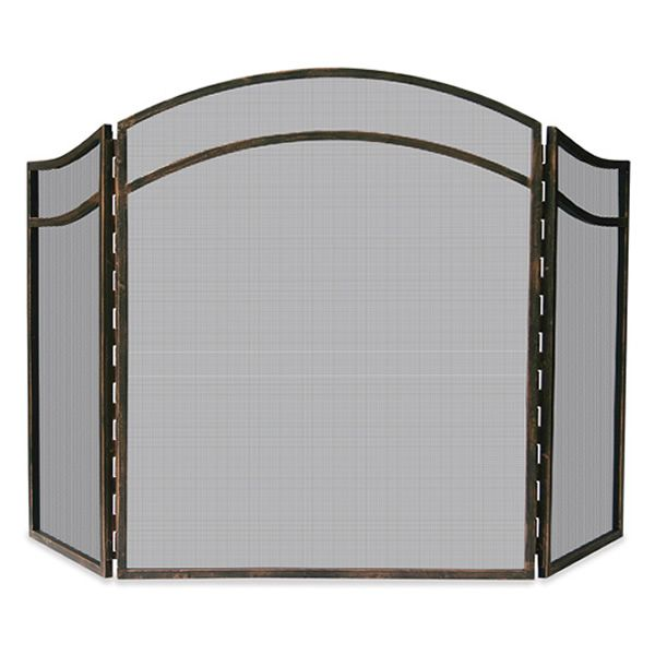 "Antique Rust Triple Panel Arch Wrought Iron Fireplace Screen - 51 1/2""x31"" image number 0"