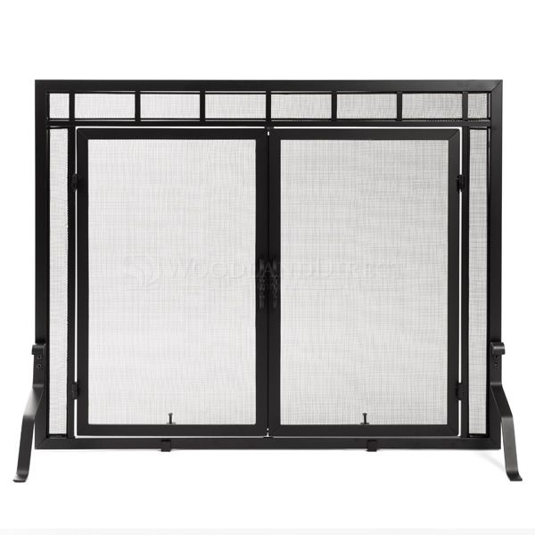 """Adams Mission-Style Window Pane Fireplace Door Screen - 44""""W x 33""""H image number 0"""