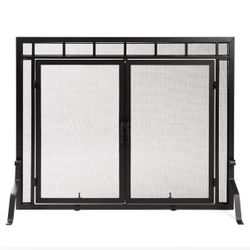 Adams Mission-Style WindowPane Door Fireplace Screen 44Wx33H