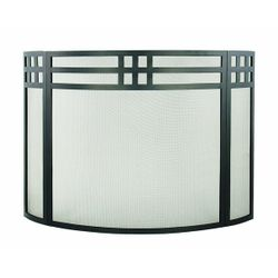 Adams Prairie Bowed Black Fireplace Screen
