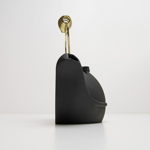 Alumina Half Kettle Humidifier with Brass Handle - Matte Black image number 1