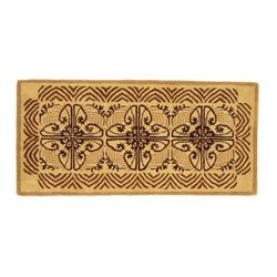 "Art Deco Cocoa 56""x26"" Rectangular Fireplace Hearth Rug"
