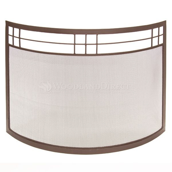"Arts and Crafts Curved Fireplace Screen - 39"" x 29"" image number 0"