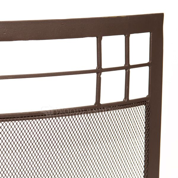 "Arts and Crafts Curved Fireplace Screen - 39"" x 29"" image number 1"