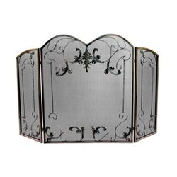 Arched Three Fold Vintage Fireplace Screen - Venetian Bronze