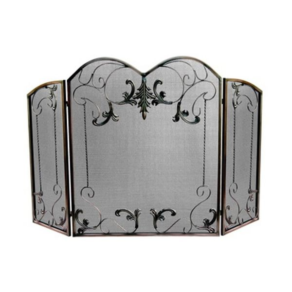 """Venetian Bronze Arched Three Fold Vintage Fireplace Screen- 53 1/2""""x33 3/4"""" image number 0"""