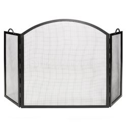 Arched Top Twisted Rope Handle Fireplace Screen