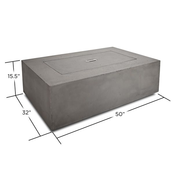 Baltic Rectangle Fire Table - Glacier Gray - LP image number 6