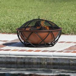 Barzelonia Round Copper Wood Burning Fire Pit