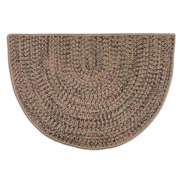 Beige Multi-Colored Braided Fireplace Hearth Rug - 4' image number 0