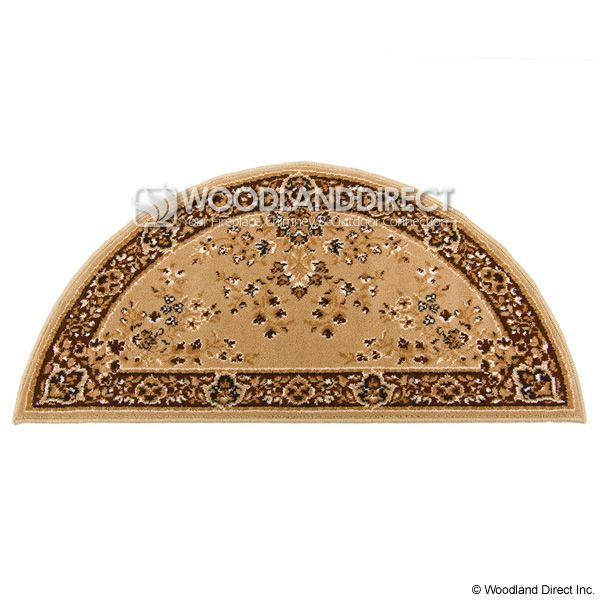 "Beige Oriental Half Round Wool Fireplace Hearth Rug - 44""x22"" image number 0"