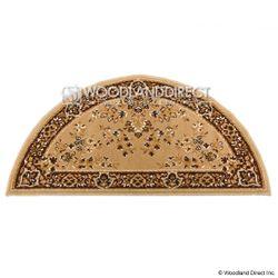 """Beige Oriental 44""""x22"""" Half Round Wool Fireplace Hearth Rug"""