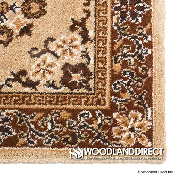 "Beige Oriental Rectangular Wool Fireplace Hearth Rug - 44""x22"" image number 1"