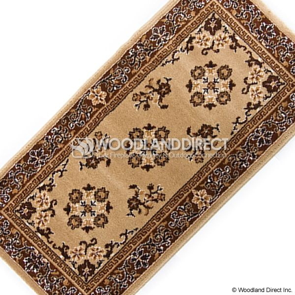 "Beige Oriental Rectangular Wool Fireplace Hearth Rug - 44""x22"" image number 2"