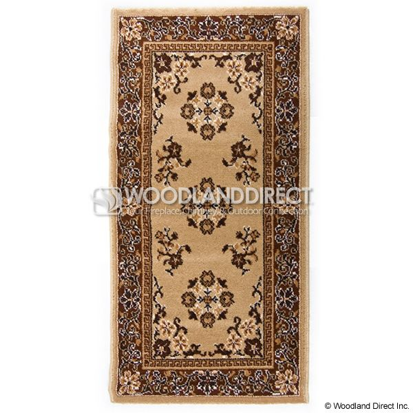 "Beige Oriental Rectangular Wool Fireplace Hearth Rug - 44""x22"" image number 0"
