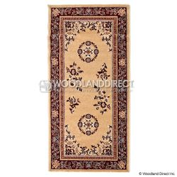 "Beige Oriental 56""x26"" Rectangular Wool Fireplace Hearth Rug"