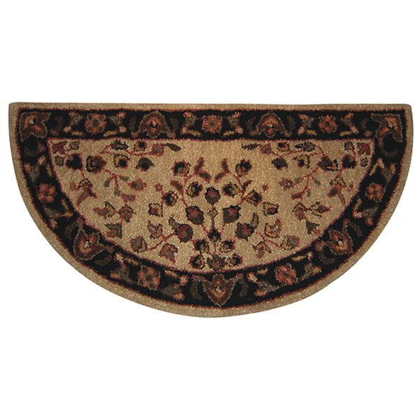 """Beige with Black Hand Tufted Wool Rug - 44"""" x 22"""" image number 0"""