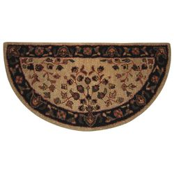 """Beige with Black Hand Tufted Wool Rug - 44"""" x 22"""""""