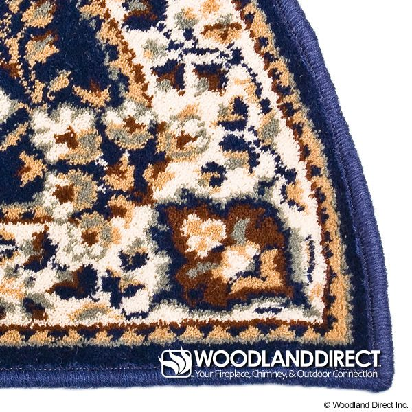 """Blue Oriental Half Round Wool Fireplace Hearth Rug - 44""""x22"""" image number 1"""