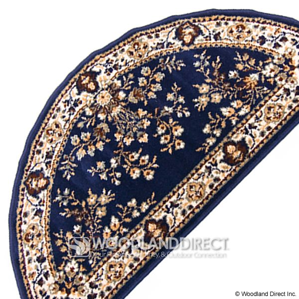 """Blue Oriental Half Round Wool Fireplace Hearth Rug - 44""""x22"""" image number 2"""