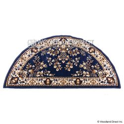 "Blue Oriental 44""x22"" Half Round Wool Fireplace Hearth Rug"