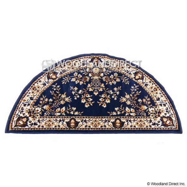 """Blue Oriental Half Round Wool Fireplace Hearth Rug - 44""""x22"""" image number 0"""