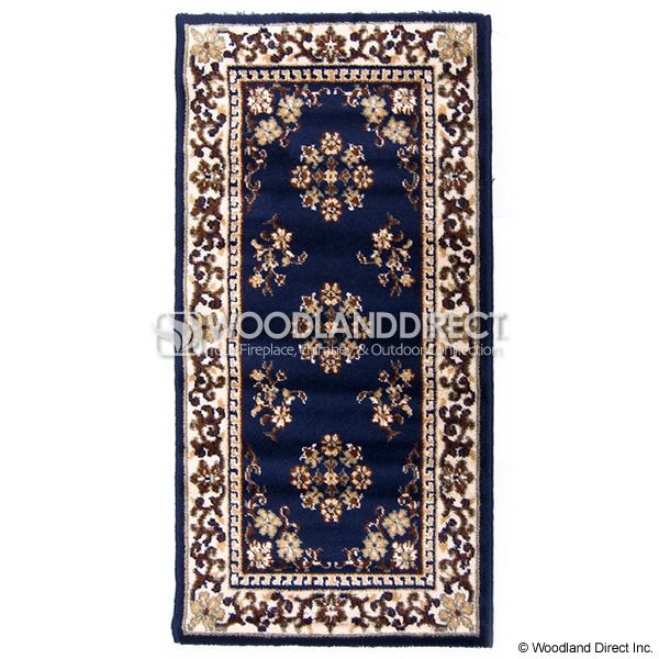 "Blue Oriental Rectangular Wool Fireplace Hearth Rug - 44""x22"" image number 0"