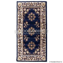 "Blue Oriental 44""x22"" Rectangular Wool Fireplace Hearth Rug"