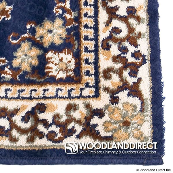 "Blue Oriental Rectangular Wool Fireplace Hearth Rug - 44""x22"" image number 1"
