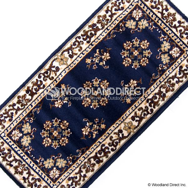 "Blue Oriental Rectangular Wool Fireplace Hearth Rug - 44""x22"" image number 2"