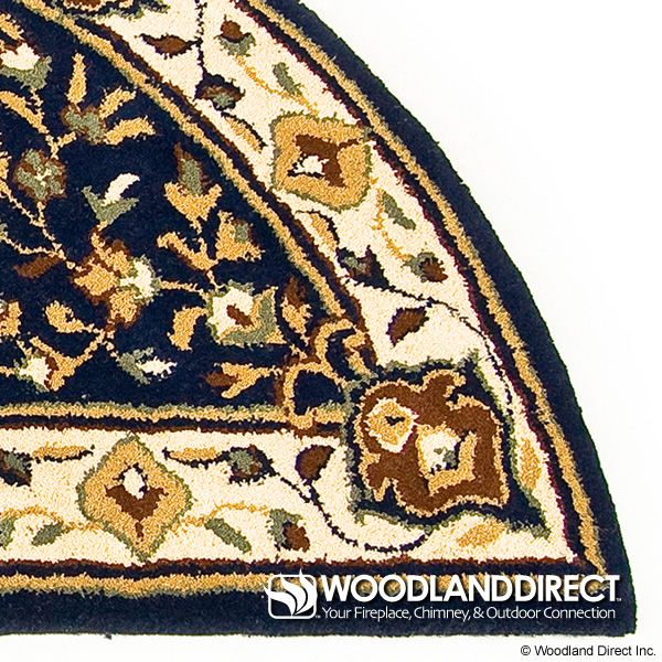 "Blue Oriental Half Round Wool Fireplace Hearth Rug - 56""x26"" image number 1"