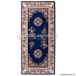 "Blue Oriental 56""x26"" Rectangular Wool Fireplace Hearth Rug"