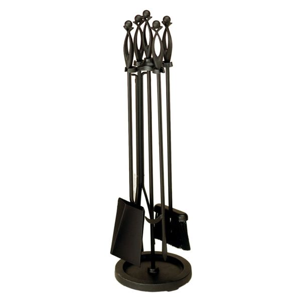 Black Wrought Iron 4 Piece - Fireplace Tool Set image number 0