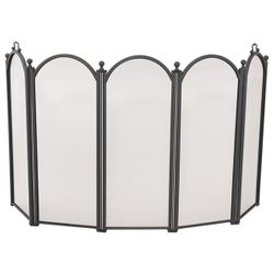 Black 5-Panel Large Diameter Fireplace Screen