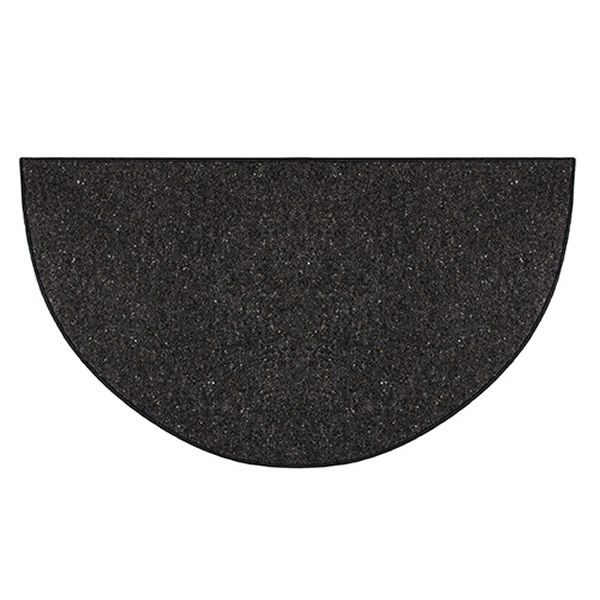 Black Andiron Half Round Fireplace Hearth Rug - 4' image number 0