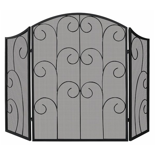 "Black Fireplace Screen with Decorative Scroll - 52"" x 35"" image number 0"