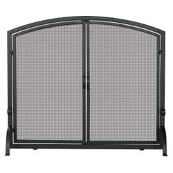 Black Fireplace Screen with Doors - Medium