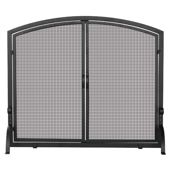 "Black Fireplace Screen with Doors - 39"" x 33"" image number 0"