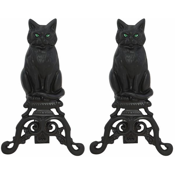 Black  Iron Cat Fireplace Andirons with Reflective Glass Eyes image number 0