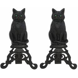 Black  Iron Cat Fireplace Andirons w/ Reflective Glass Eyes