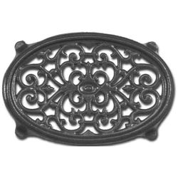 Black Oval Filigree Wood Stove Trivet