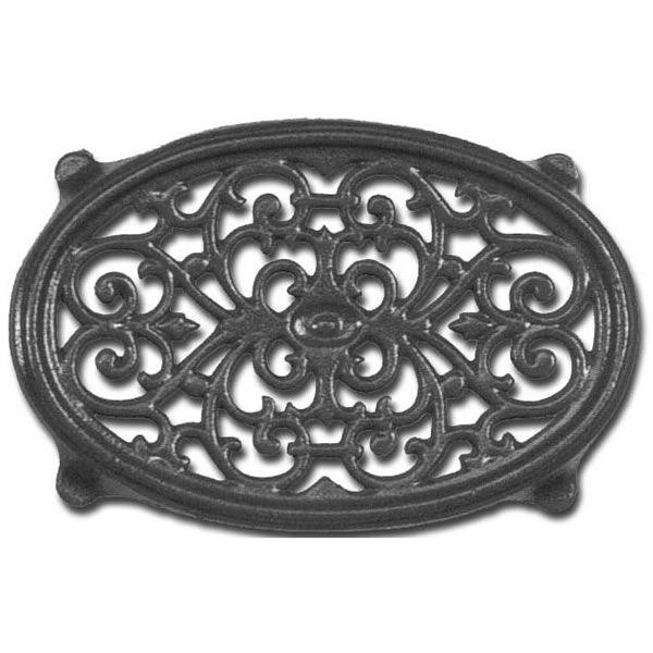 Oval Filigree Wood Stove Trivet - Black image number 0
