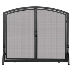 Black Single Panel Wrought Iron Fireplace Screen with Doors