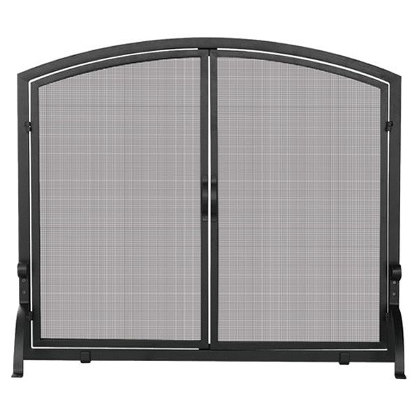 "Black Single Panel Wrought Iron Fireplace Screen with Doors - 44"" x 34"" image number 0"