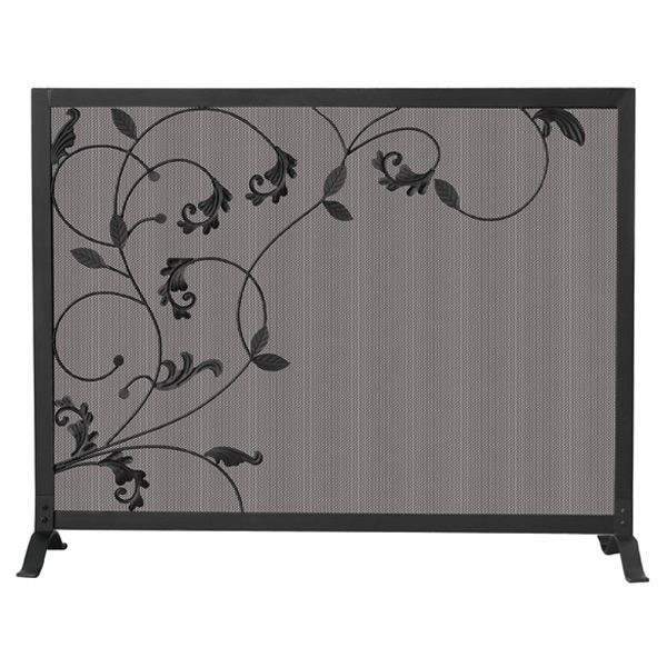 "Black Single Panel Wrought Iron Fireplace Screen with Leaves - 39"" x 31"" image number 0"