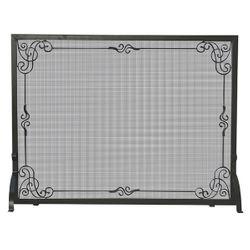 Black Single Panel Wrought Iron Scrollwork Fireplace Screen