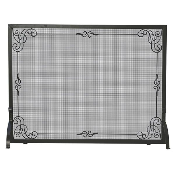 "Black Single Panel Wrought Iron Scrollwork Fireplace Screen - 44"" x 33"" image number 0"