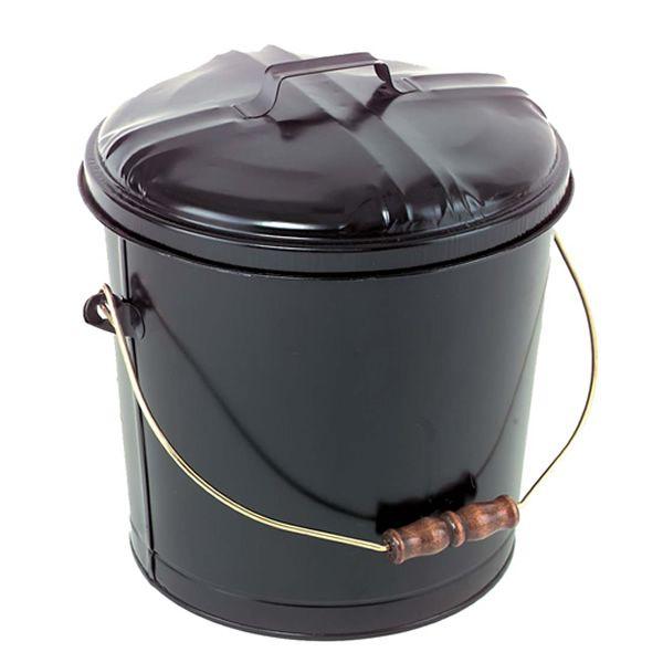 5 Gallon Steel Ash Bucket - Black image number 0